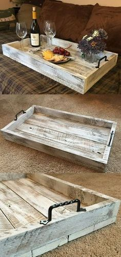 This Simple, Rustic Farmhouse Serving Tray would be a perfect addition to your coffee table or ottoman. This Simple, Rustic Farmhouse Serving Tray would be a perfect addition to your coffee table or ottoman. Pallet Furniture, Rustic Furniture, Furniture Ideas, Furniture Removal, Outdoor Furniture, Bathroom Furniture, Furniture Online, Kitchen Furniture, Garden Furniture