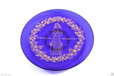 Vintage Orrefors Gold on Cobalt Blue 1972 Mother's Day Plate Mors Dags