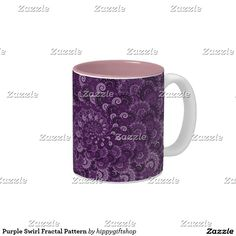 #Purple Swirl Fractal Pattern Two-Tone Coffee #Mug