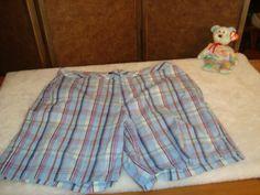 Relativity Sz 16 Women's Blue Plaid Cotton Stretch Shorts 5 Pockets #Relativity #CasualShorts