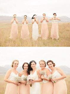 Blush and Neutral Wedding Ideas - bridesmaids in peach and white tops and maxi skirts