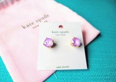 Gorgeous New KATE SPADE gumdrop earrings in a beautiful translucent violet color, comes complete with a pink Kate Spade dust bag. RETAILS for $48 *MATERIAL gold plated metal *FEATURES shiny steel posts *DETAILS weight: 5.1g handcrafted imported Tags-Kate Spade, Kate Spade earrings, Kate Spade gumdrop earrings, Kate Spade jewelry, Violet, earrings, jewelry Kate Spade Earrings, Stud Earrings, Gum Drops, Lilac, Pink, Dust Bag, Plating, Posts, Steel