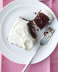 martha stewart chocolate cake - delicious and moist but  cut it in half if making a smaller cake!