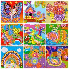 Hot Creative 3D Mosaics Sticker Game AnimalsTransport Arts Craft Puzzle for Kids EVA Educational Toy DIY Model Building Toys