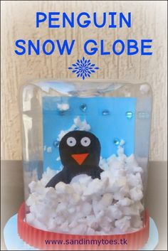 Tutorial for making a penguin snow globe with kids. make kinda flat snow globes as invitations!