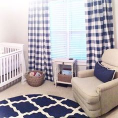 Loving This Pic Our Customer Sent Of Their ADORABLE Nursery Navy Buffalo Check Curtains