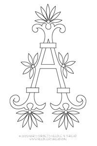 Series of free downloads for embroidered letters. Monogram for Hand Embroidery: Fan Flowers A #embroidery #diy #crafts #alphabet
