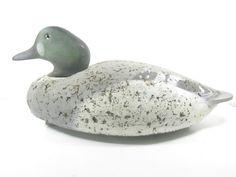 Vintage Duck Decoy, Wood Duck, Duck Hunter, Decoy, Green Head Duck, Wood and Cork Decoy Duck by KarensChicNShabby on Etsy