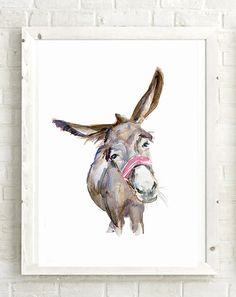 Donkey Art Donkey Watercolor Painting  Giclee art print
