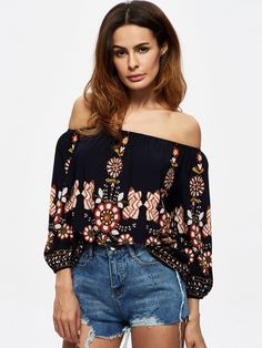 Sale 29% (21.29$) - Sexy Off Shoulder Printed Women T-shirts