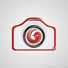 Simple photography logo with red bird icon in the middle of camera