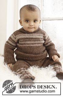 """Little William - Knitted DROPS jumper with raglan and pants in """"Lima."""" - Free pattern by DROPS Design"""