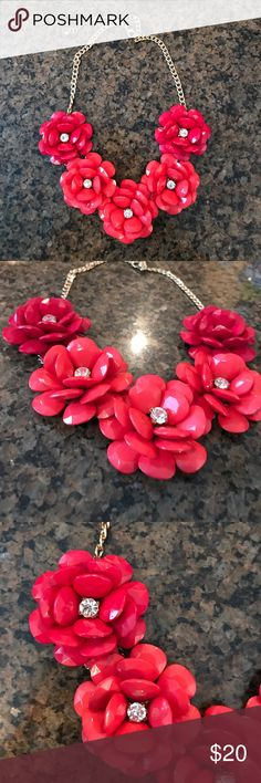 J. CREW Rose statement necklace Pink roses, only worn a few times. Great condition! J. Crew Jewelry Necklaces