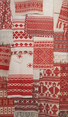 red and white ukranian towels
