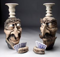 Grafton Pottery Face Jugs