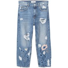 April Straight Jeans (230 SAR) ❤ liked on Polyvore featuring jeans, embroidery jeans, cropped jeans, mango jeans, embroidered jeans and blue jeans