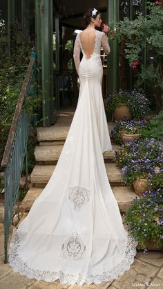 naama anat bridal 2017 illusion long sleeves split scoop trumpet wedding dress (pure) bv low back long train