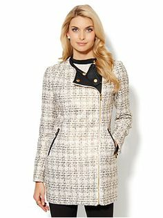 Faux-Leather Sparkle Tweed Coat from New York & Company