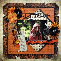 Cute Halloween Layout by Petaloo - love the diamond backing