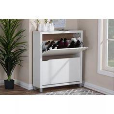 Simms Modern Shoe Cabinet White - Baxton Studio : Target Shoe Cabinet, Clutter Free Home, Shoe Rack, Shoe Storage Cabinet, Cabinet, Modern, Storage Cabinet, Storage, Shoe Cabinet Entryway