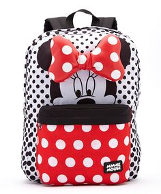 Red Minnie Mouse Polka Dot Bow Backpack by Mickey Mouse & Minnie Mouse #zulily #zulilyfinds