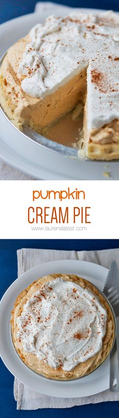 Pumpkin Cream Pie... It's light and creamy and delicious! Not to mention the…