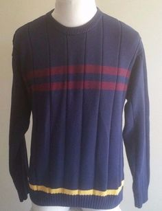 Men's Tommy Hilfiger Large Blue Yellow Maroon Sweater  100% Cotton #TommyHilfiger #Crewneck