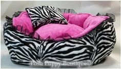 One stop shop for designer dog clothes and accessories -Luxury White Zebra with Pink Dog Bed puppy Beds, Blankets & Furniture - Bolster Style Beds, pet toys, collars, carriers, treats, stunning bowls, diaper, belly bands, fancy id tags, harnesses
