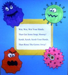 HEALTH: This is cute sing-a-long song for students to remember to wash their hands. health education health education activities health education for kids health education fun health education lesson plans health education tips Preschool Songs, Preschool Classroom, Kids Songs, Preschool Activities, Kindergarten, Preschool Lessons, Healthy Crafts For Preschool, Body Preschool, Germ Crafts