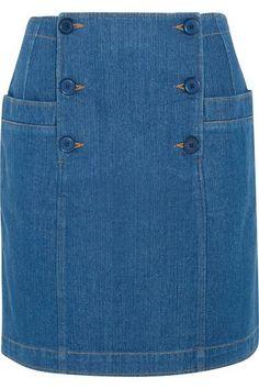 Blue denim Button fastenings along front cotton Machine wash or dry clean Designer wash: Indigo Chanel lipstick Giveaway Skirt Outfits, Dress Skirt, Jean Skirt, Denim Skirt, Denim Fashion, Womens Fashion, Fashion Tips, Denim Ideas, Jeans Rock