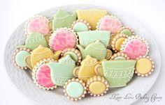 Tea Party Cookies Mother's Day Wedding Shower por HappyLorisBaking