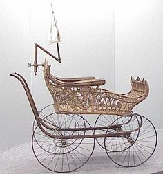 victorian baby carriage | 2193: VICTORIAN WICKER BABY CARRIAGE W/UMBRELLA : Lot 2193