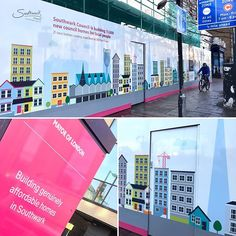 Printed hoarding manufactured and fitted for a site on the Old Kent Road in London using ACM with anti graffiti laminate coating. Social Housing, Property Development, Graffiti, Creativity, Old Things, New Homes, Construction, London, Printed