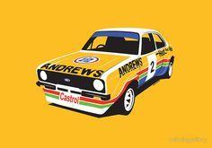 'Ford Escort Rally Car' Poster by velocitygallery Mk1, Datsun Car, Car Illustration, Classic Motors, Ford Escort, Motorcycle Art, Car Posters, Car Drawings, Automotive Art