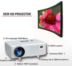 Excelvan HDMI Input 3000 Lumens LED Home Projector Native Resolution Multi-function Projector Tv Built In, Photography Supplies, Lcd Projector, Digital Tv, Stereo Speakers, Home Entertainment, Home Theater, Multimedia, Cinema