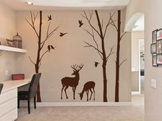 Birch trees decals deer wall decals nature wall by DreamKidsDecal