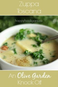 Zuppa Toscana - An Olive Garden Knock-Off. This soup is seriously to die for. I can't get enough of it. Forget about a spoon. I could slurp this right out of the bowl! - Happy Hooligans