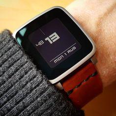 """digittmmore"" #Watchface by @ttmmaftertime with a coffee brown @primria_design leather #watchband on #PebbleTimeSteel #pebble #smartwatch #pebbletime #watchfaces"