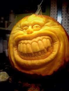 -- carved by hubby Mehr 3d Pumpkin Carving, Amazing Pumpkin Carving, Food Carving, Scary Pumpkin, Pumpkin Art, Pumpkin Faces, Pumpkin Crafts, Diy Halloween, Halloween Pumpkin Designs