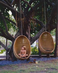 Hanging Wicker egg chair - if only my tree in the garden was big enough for one of these!