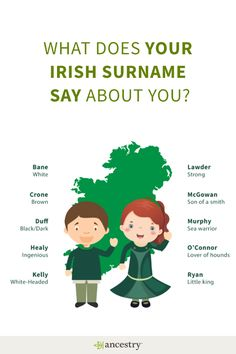 A history of Irish surnames: Is yours here? Until about the century surnames were not passed down from generation to generation. Instead, surnames were patronymic. Irish Last Names, Real Madrid, Genealogy Research, Genealogy Sites, Genealogy Chart, Family Genealogy, Irish Roots, Thinking Day, Creative Thinking