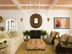 Hillary Thomas Designs, natural grass cloth wall covering on the ceiling coffers.