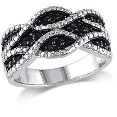 Black & White Diamonds 0.25ct Black Diamond Fashion Ring IV ($84) ❤ liked on Polyvore featuring jewelry, rings, accessories, silver, round cut rings, pave setting ring, black white diamond ring, polish jewelry and black diamond jewelry