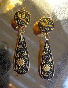 SOLD 24k Gold Damasquinado Damascene Bird Flower Teardrop Earrings TOLEDO SPAIN
