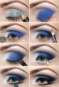 Look at how to apply eye makeup for #deepseteyes. Using shades of blue eyeshadow, make your #browneyes stand out!