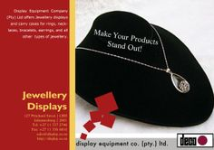 Display Equipment Company (Pty) ltd offers Jewelry displays and carry cases for rings, necklaces, bracelets, earrings, and all other  types of jewelry.