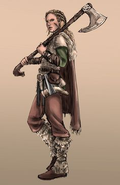 Viking woman character design.
