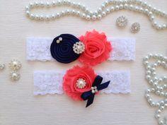 wedding garter set ivory bridal garter set navy blue by venusshop, $23.90