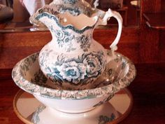 Large victorian pitcher and bowl