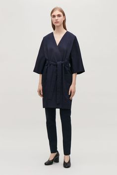 Model side image of Cos belted kimono-sleeved coat  in blue
